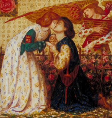 Dante Gabriel Rossetti. Kiss from a Rose (Rose garden)
