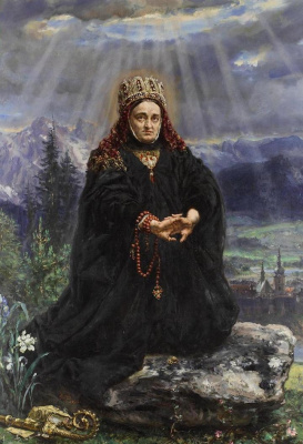 Ян Матейко. Святая Кинья молится в горах