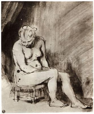 Rembrandt Harmenszoon van Rijn. Nude sitting on stool