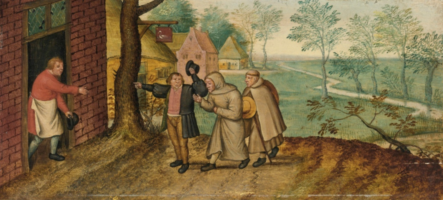 Peter Brueghel The Younger. Scenes from the life of the peasants. The monks at the tavern