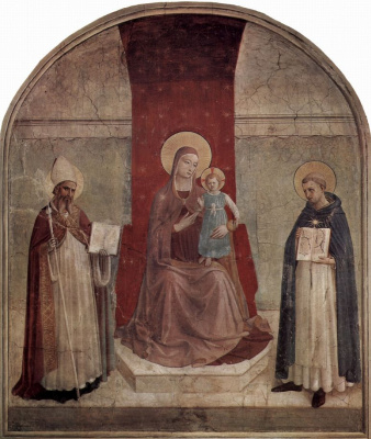 Fra Angelico. Madonna enthroned with Sweetim Dominic and St. zenobius