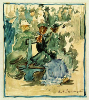 Maurice Braziel Prendergast. Ladies on the bench