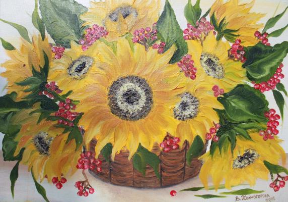 Vera Alexandrovna Kholmogorova. Bouquet of sunflowers
