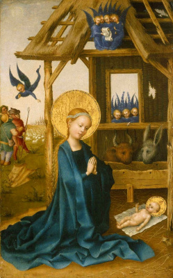Stefan Lochner. Adoration of the Infant Christ.
