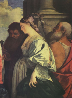 Titian Vecelli. Madonna and child with four saints John the Baptist, Paul, Mary Magdalene and Jerome. Snippet: Mary Magdalene