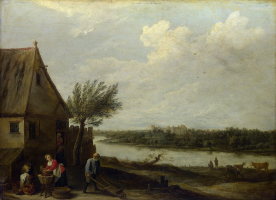 David Teniers the Younger. Landscape with a house by the river and a view of the castle