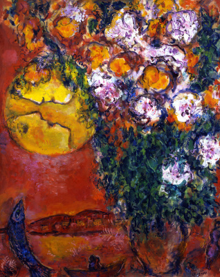 Marc Chagall. A bouquet of lilies on the sea