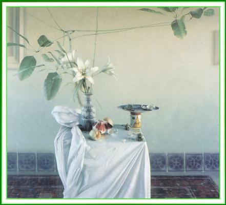 Даниэль Сприкк. Натюрморт с белой лилией и фруктами