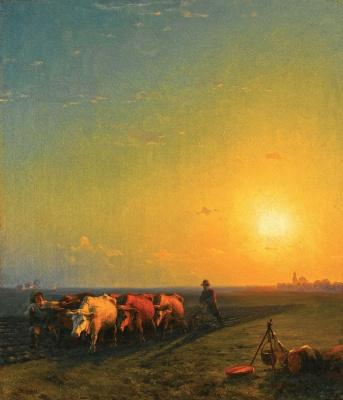 Ivan Aivazovsky. Plowing the fields. Crimea