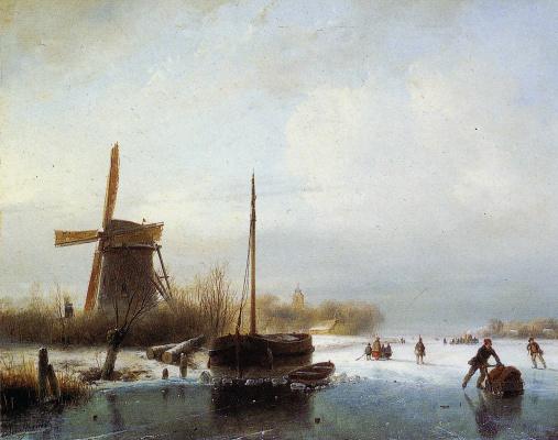 Андреас Схелфхаут. Лодка в замерзшем канале