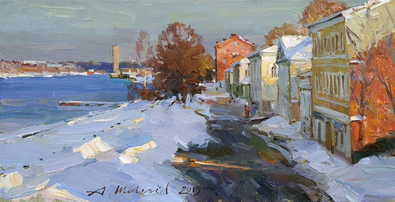 Alexander Victorovich Shevelyov. Rybinsk.The waterfront views. Oil on canvas 21 5 x 41, 5 cm 2013