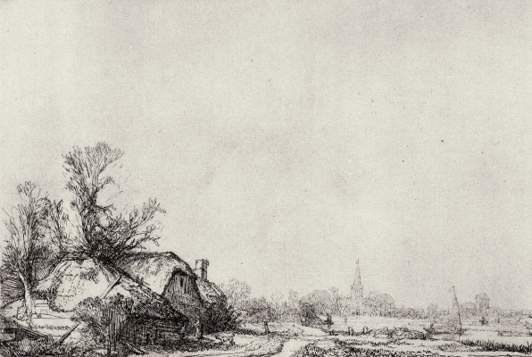 Rembrandt Harmenszoon van Rijn. The huts are along the canal
