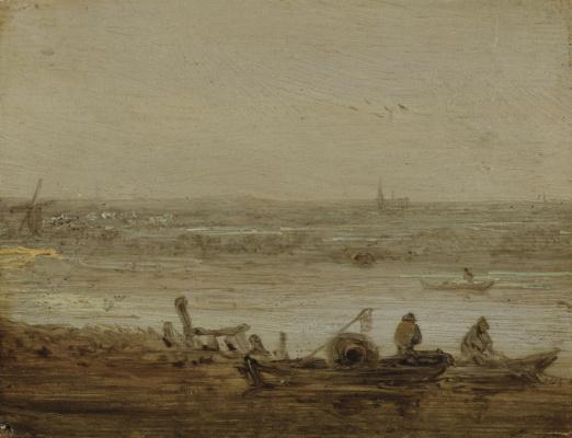 Ян ван Гойен. Пейзаж с рыбацкими лодками