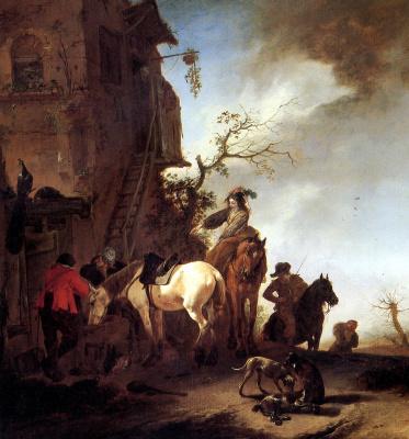 Филипс Вауверман (Воуверман). Охотники и всадники на дороге