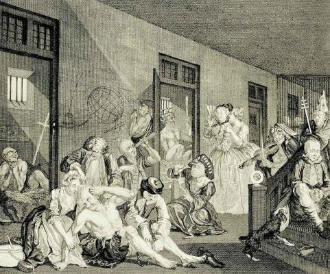 William Hogarth. In the crazy house
