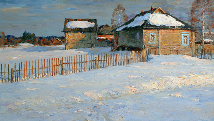 Alexander Victorovich Shevelyov. Evening in Golocalise.oil on canvas 40,7 # 70,5 cm 2010