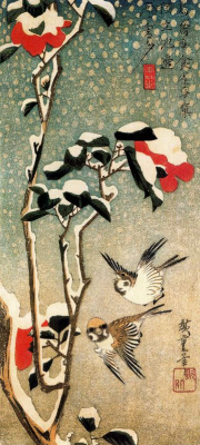 """Utagawa Hiroshige. Sparrows and snow-covered Camellia. Series """"Birds and flowers"""""""