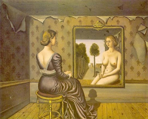 Paul Delvo. Girl before a mirror