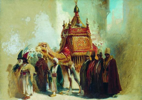 Константин Егорович Маковский. Перенесение священного ковра из Мекки в Каир. Эскиз