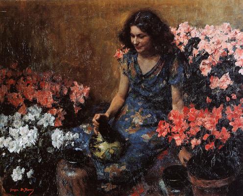 Жорж де Слувер. Девушка с цветами