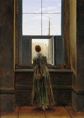Caspar David Friedrich. Woman at the window (Karolina Friedrich at the Dresden workshop)