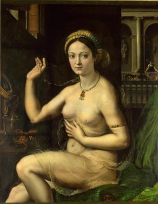 Giulio Romano. The lady at toilet (Fornarina)