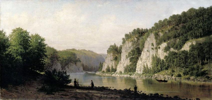 "Petr Petrovich Vereshchagin. Stone ""Written"" on the Chusovaya river"