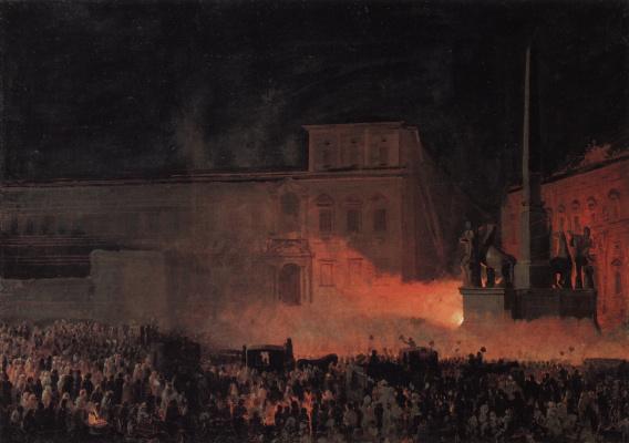 Карл Павлович Брюллов. Политическая демонстрация в Риме в 1846 году. Эскиз