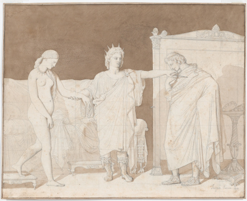 Jean Auguste Dominique Ingres. Alexander the Great introduces Kampaspu with the painter Apelles