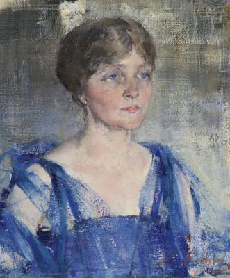 Nikolay Feshin. Portrait of woman in blue