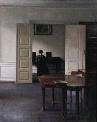 Vilhelm Hammershøi. Interior. Ida playing the piano