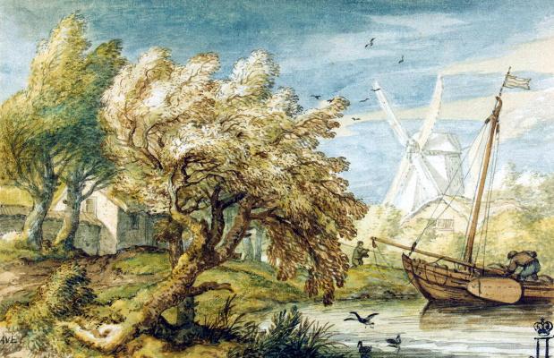Алларт ван Эвердинген. Пейзаж с лодкой