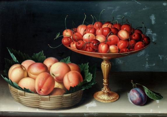 Луиза Муайон. Корзина с абрикосами, серебряная тацца с черешней и слива на столе.