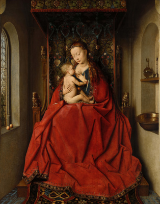 Jan van Eyck. Madonna with the child enthroned