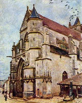 Alfred Sisley. The Church at Moret in the second half of the day