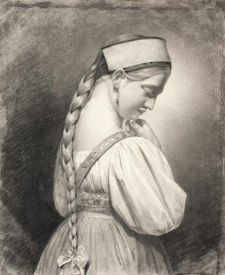 Maria Alekseevna Polenova (Voeikova). Girl with a long braid