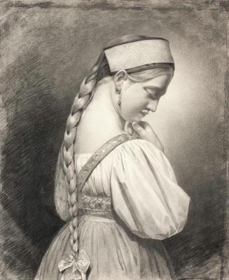 Maria Alekseevna Polenova (Voeikova). Girl with a long braid