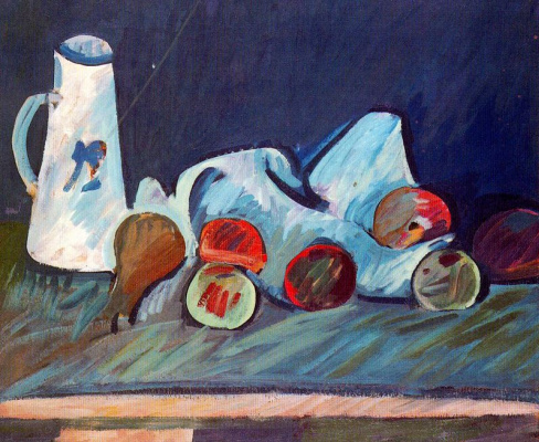 Arshile Hills. Still life with white dishes
