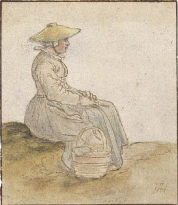 Хендрик Аверкамп. Сидящая женщина с корзиной