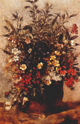 John Constable. Autumn berries and flowers in brown pot