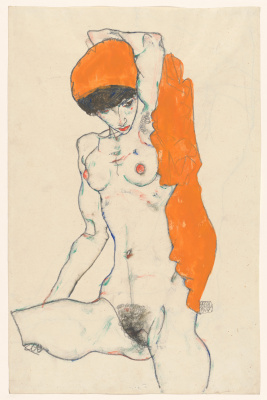 Standing Nude with Orange Drapery