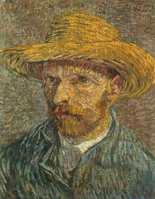 Vincent van Gogh. Self-portrait in a straw hat