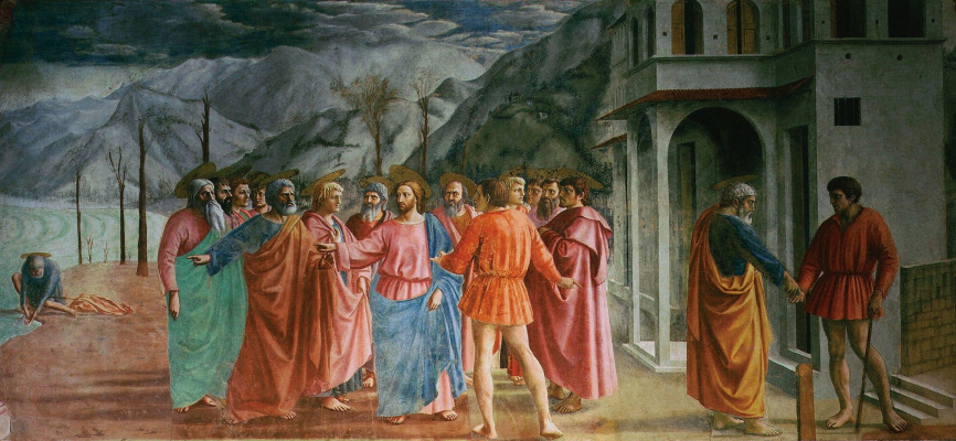 Tommaso Masaccio. Brancacci Chapel. Miracle with a statir (Payment of tax)