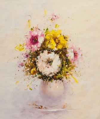 (no name). Multi-colored bouquet in a white vase