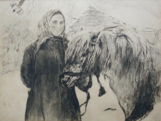 Valentin Aleksandrovich Serov. Woman with a horse
