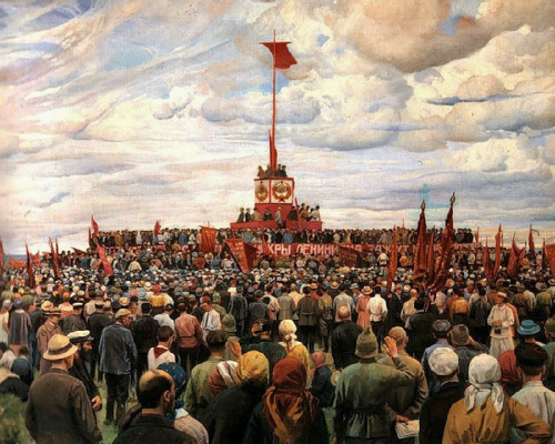 Isaac Brodsky. Celebration of the Constitution (Transfer of the flag of the Paris Communards to Moscow workers on Khodynka in Moscow)
