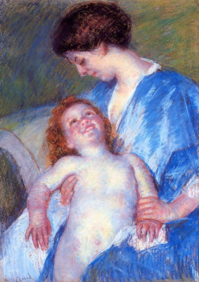 Mary Cassatt. Baby, with a smile looking at the mother