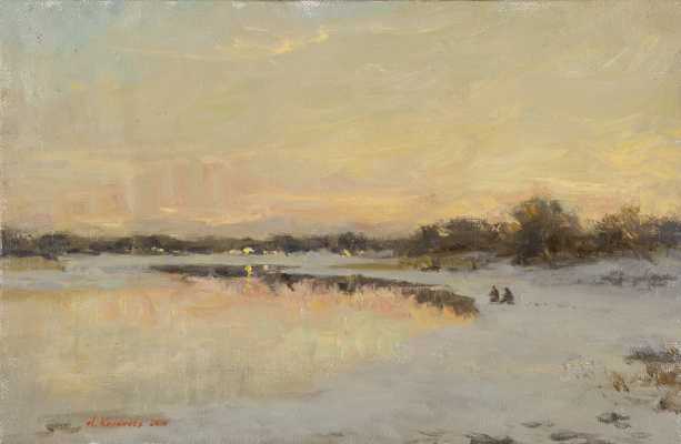 Alexander Evgenievich Kosnichev. Sunset. The River Msta