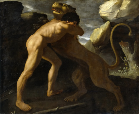 Francisco de Zurbaran. The struggle of Hercules with the Nemean lion
