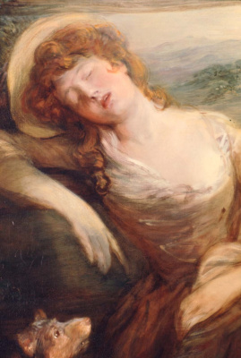 Thomas Gainsborough. Cleaner hay and sleeping girl. Fragment
